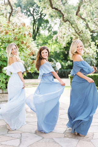Floor Length Off-the-shoulder Chiffon Bridesmaid Dress,Sexy Bridesmaid Dresses,N735