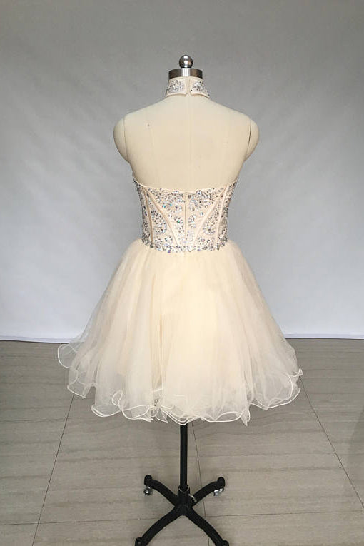 A Line High Neck Tulle Beading Mini Homecoming Dress, Short Prom Dress with Beads N908