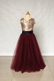 Floor Length Sleeveless Gold Sequin Burgundy Tulle Flower Girl Dress with Black Sash F019