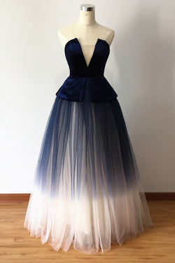 Ombre Blue Tulle Long Prom Dress, New Style Strapless Long Evening Dress N1661