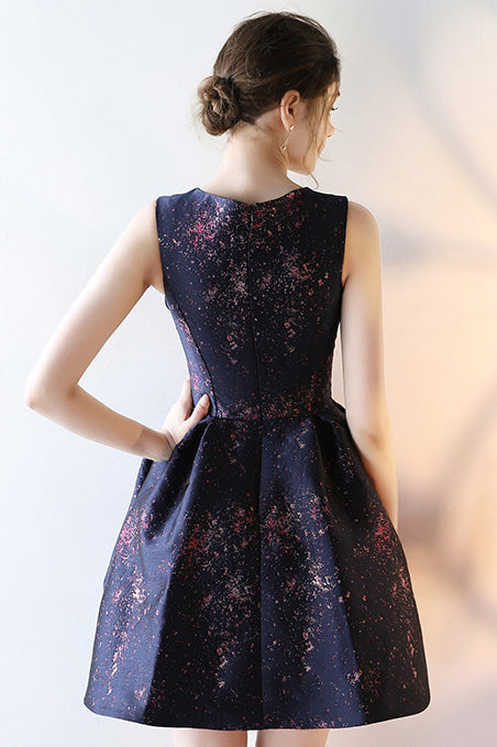 Stylish A line Sleeveless Round Neck Short Prom Dress, Unique Mini Homecoming Dress N922