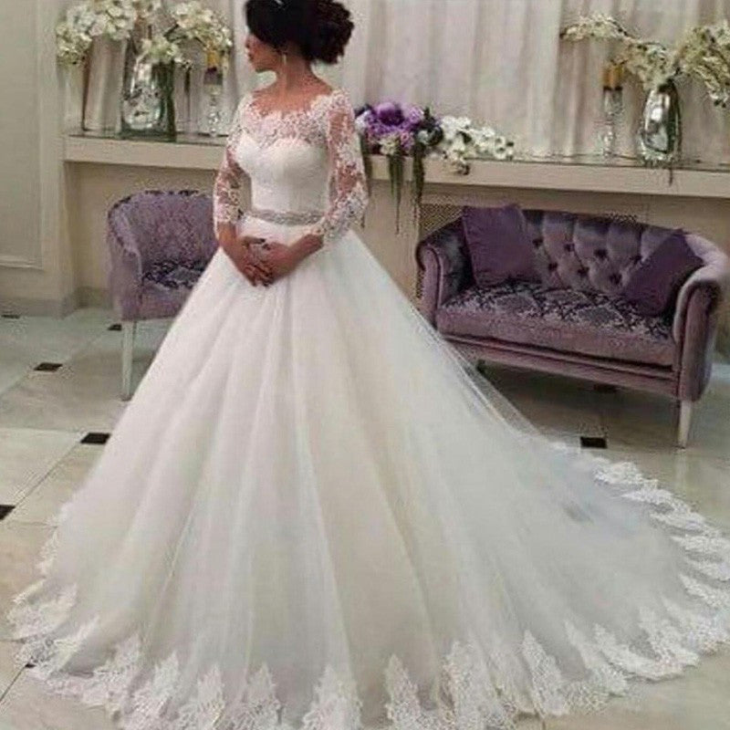 Long Sleeves Ball Gowns,Lace Vestido de Noiva,CustomizedTulle Wedding Dress With Beaded Sash,N148