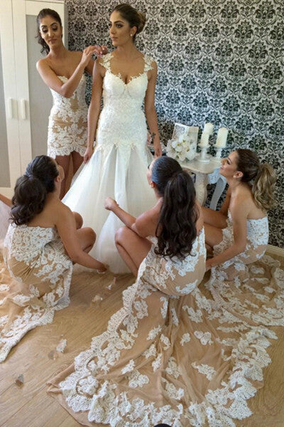 High-low Lace Appliqued Mermaid Bridesmaid Dress,Strapless Bridesmaid Gown,Prom Dress,N227