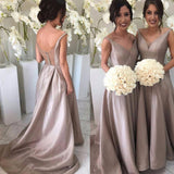 A-line V-neck Backless Sleeveless Taffeta Straps Sweep Train Bridesmaid Dress With Pleats ,N164