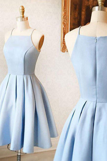 A-Line Spaghetti Straps Homecoming Dress,Sleeveless Light Blue Satin Short Prom Dress,ED90