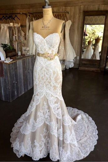 White Lace Wedding Dresses,Mermaid Wedding Gown,Strapless Wedding Gowns,Sweetheart Lace Bridal Dress,Sexy Brides Dress,Vintage Wedding Gowns
