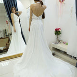A-line Halter Chiffon Wedding Dress,Backless Court Train Bridal Dresses,Beach Wedding Dress,N124