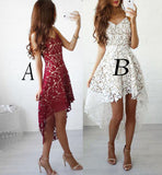 High-low Burgundy V-neck Straps Homecoming Dress Asymmetrical Lace Short Prom Dress,N253