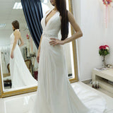 A-line Halter Wedding Dress,Chiffon Wedding Dress With Court Train,Backless Court Train Bridal Dresses with Beading