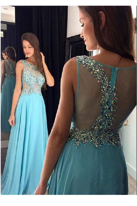 Light Sky Blue Long Prom Dress,Sleeveless Sheer Beading Special Occasion Party Gown For Girls,N85