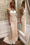 Mermaid Tulle Beach Wedding Dress with White Lace Appliques,Bridal Dress with Beaded Waist,N235