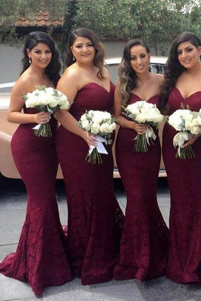 Burgundy Sweetheart Bridesmaid Dress,Mermaid Sweep Train Lace Bridesmaid Dress,Long Prom Dresses,Lace Bridesmaid Dress,Strapless Prom Gown,Burgundy Dress,N150