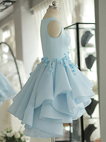 Sky blue a line tulle satin homecoming dresses with flowers sky blue homecoming dressa line satin tulle short flowers original prom dresses mightylinksfo