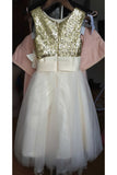 A Line Sleeveless Floor Length Gold Sequin Tulle Flower Girl Dress with Flower F036
