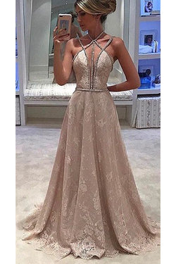 LaceProm Dress,Straps Prom Gown,Halter Sleeveless Formal Dress,A-line Evening Dress,Deep V-neck Prom Dress With Beading,N117