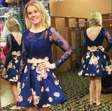 Royal Blue Two Piece Bateau Long Sleeves Floral Short Homecoming Dress with Lace N911