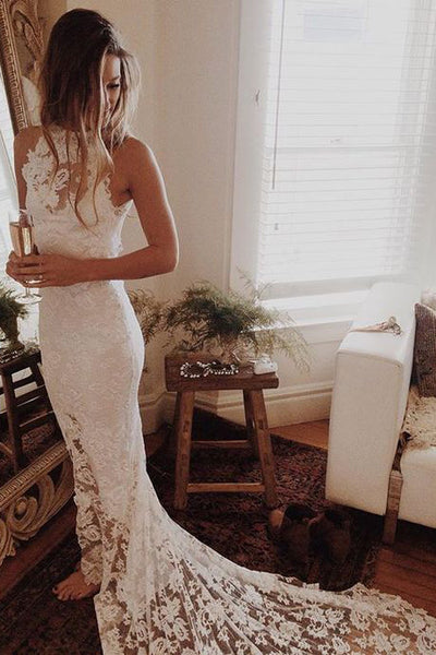 Ivory Princess Lace Beach Wedding Dress,Mermaid Open Back Wedding Dress,Bridal Gown,N229