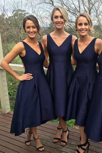 Elegant Bridesmaid Dresses,Midi Bridesmaid Dress,Midi Dress,V-neck A-line Bridesmaid Gown,Navy Blue High Low Bridesmaid Dress,Simple Satin Bridesmaid Dress,N146