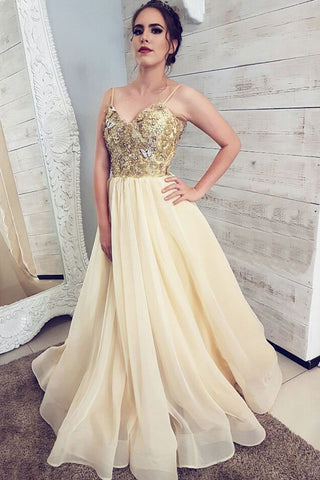 Spaghetti Strap Floor Length Tulle Prom Dresses with Appliques, Cheap Party Dress N2647