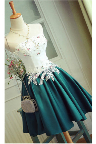 Special Deep Jade Short Prom Dress With Appliques,Elegant Strapless Homecoming Dress,Short Homecoming Dress,Stain Cocktail Dress,Short Party Gown,A-line Sweet 16 Dress,Short Graduation Dress