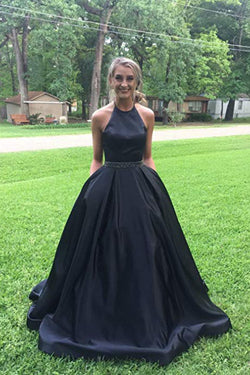 Black Halter Satin Prom Dress with Beading, Long Evening Dress with Pockets N2070