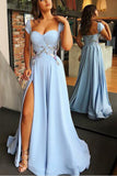 A Line Cap Sleeve Sweetheart Long Split Prom Dress with Appliques, Charming Formal Dress N1095