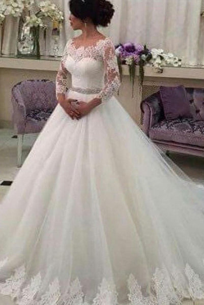 Customized Wedding Dresses,Long Sleeves Bridal Dress,Ball Gowns Tulle Bridal Gown,Lace Vestido de Noiva Elegant Casamento Robe De Marriage Beaded Sash,N148