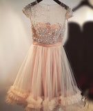 Fashion A-Line Jewel Cap Sleeves Tulle Short Homecoming Dress,Beading Short Prom Dress,N236