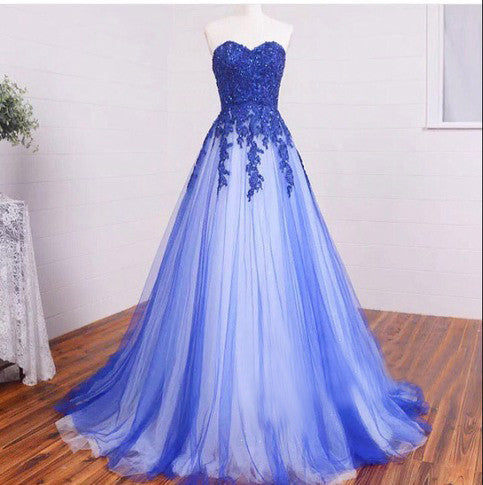 New Arrival Sweetheart Strapless Lace Appliqued Royal Blue Prom Dress,Simple Formal Dress,N138