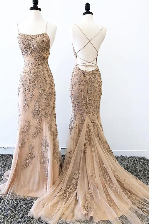 Sexy Mermaid Prom Dresses Criss Cross Back Evening Dresses, Hot Selling Long Formal Dress N2474