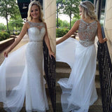 White Sequin Shiny Long Chiffon Prom Dresses,Beading Prom Dress,Sexy School Dancing Dress N29