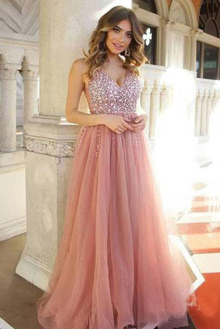 0aaa7d0c30f9 Shiny V Neck Tulle Long Prom Dresses, A Line Sleeveless Sequins Party Dress  N1495
