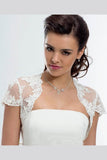 Cap Sleeve Lace Bolero Jacket Ivory Lace Bridal Top, Cheap Lace Appliques Wedding Jacket JK019