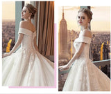 Gorgeous Off the Shoulder Lace Long Train Wedding Dresses, Princess Bridal Dresses N2581