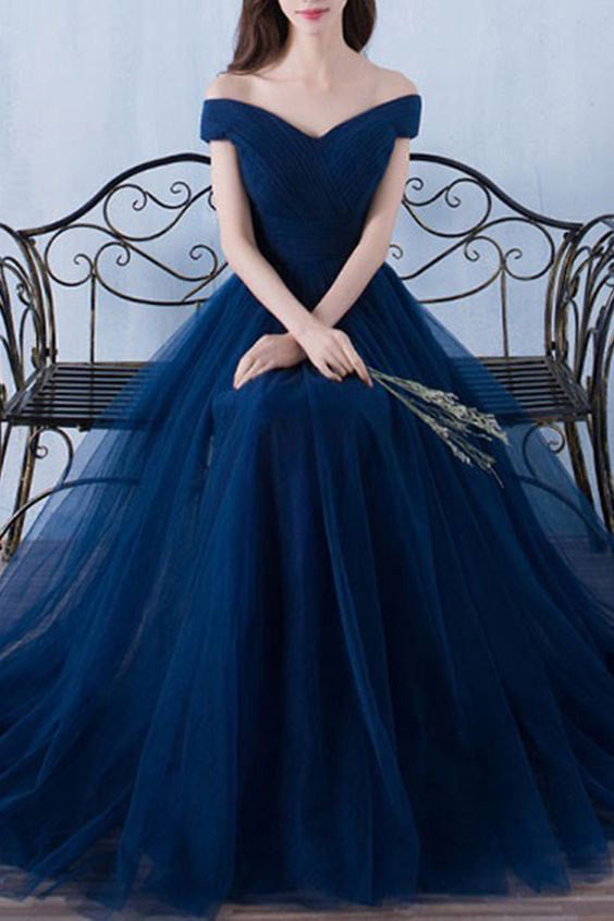 A-line Navy Blue off-the-Shoulder Long Prom Dresses,Tulle Evening Dress N23