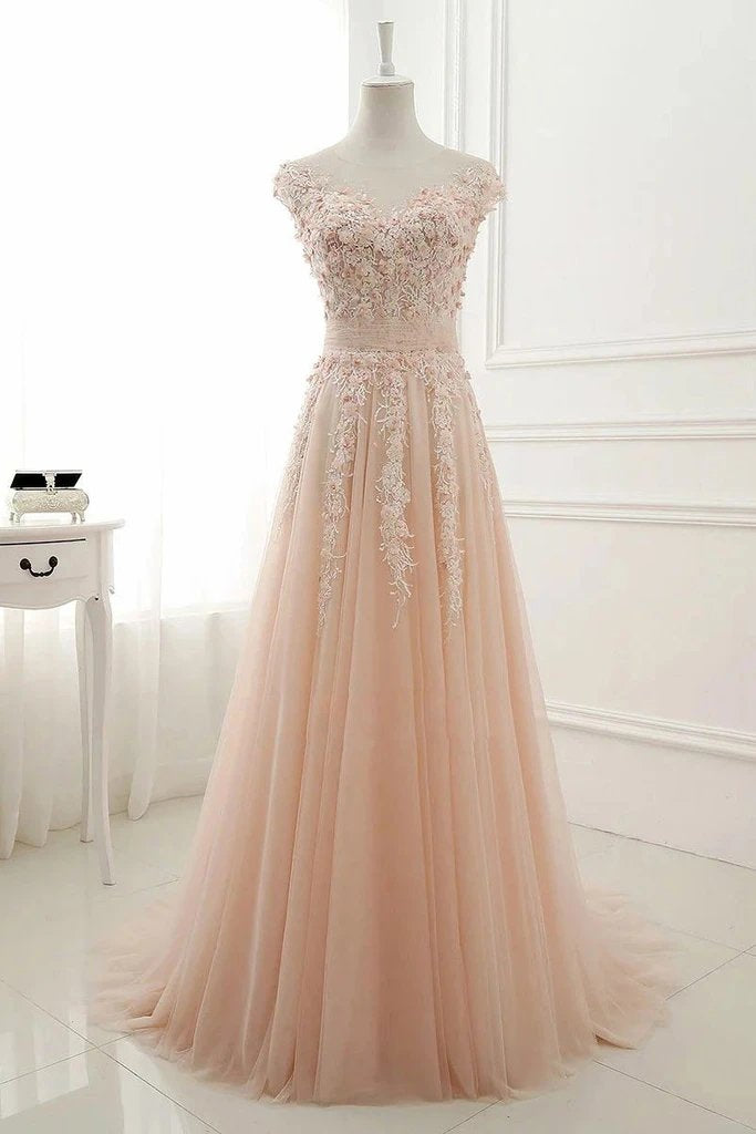 A Line Sheer Neck Cap Sleeves Tulle Prom Dresses, Lace Appliqued Long Formal Dresses N2655