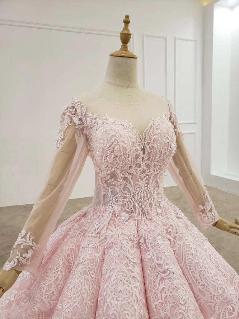 Ball Gown Long Sleeves Lace Prom Dress, Gorgeous Wedding Dress, Quinceanera Dress N2654