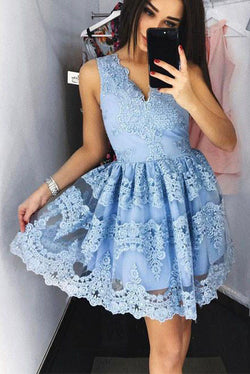 958ded46dc5 Cute Mini V-Neck Blue Homecoming Dress