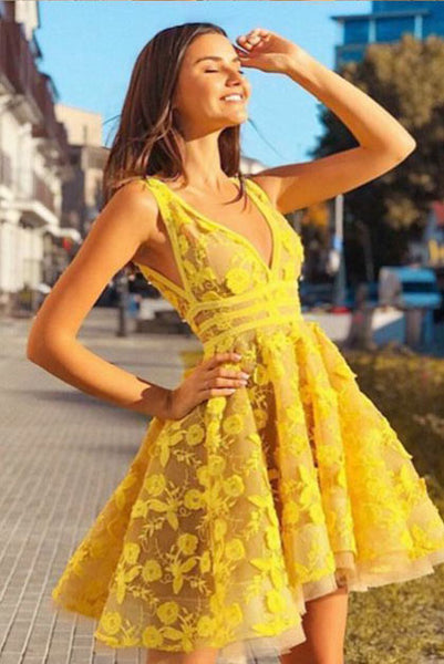 Fashion V neck Yellow Short Lace Prom Dress, A Line Short Homecoming Dress N2187