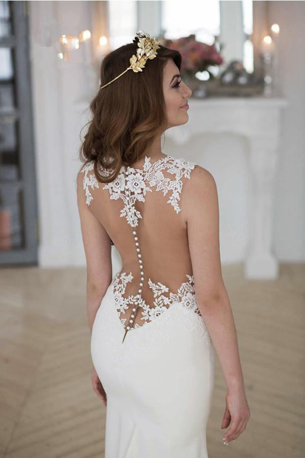 Stunning See-through Mermaid Sleeveless Lace Appliques Court Train Wedding Dress,N465