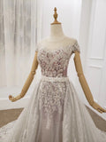 Gorgeous Sheer Neck Long Train Wedding Dresses, Sparkly Short Sleeves Prom Dress N2636
