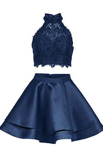 Two Piece Navy Blue High Neck Homecoming Dress with Lace, A Line Satin Graduation Dress N1853