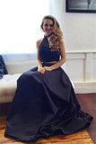 Two piece Black Satin Prom Dresses,A-line Sleeveless Long Evening Dress N33