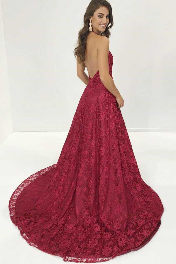 Burgundy Deep V Neck Lace Evening Dress, Sweep Train Backless Long Lace Prom Gown N1142
