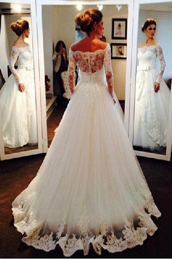 Elegant Tulle Lace Off-the-shoulder Bridal Dresses Long Sleeve Wedding Dress N935