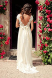 A-line V-neck Cap Sleeves Sweep Train Backless Wedding Dress With Sash,Beach Wedding Dress,N345