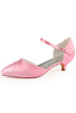 Pink Wedding Shoes with Beads, Fashion Low Heels Woman Shoes
