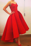 Sweetheart Prom Dress, Red Prom Dresses,High-low Prom Gown,Strapless Prom Dress,Short Prom Dress,Red Homecoming Dress,Sexy Formal Dress With Ruffles