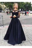 Two Pieces Long Sleeves Lace Top And Satin Prom Dress,Party Dresses N15