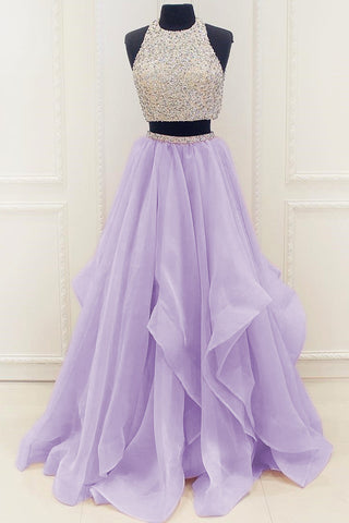 New Arrival Modest Organza Prom Dresses,2017 Stunning Sequin Two Piece Prom Dress 2017 N67